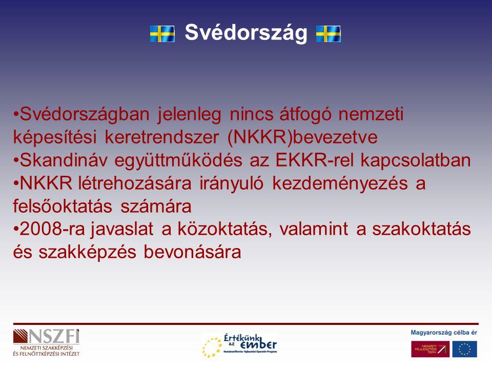Svédország Svédországban jelenleg nincs átfogó nemzeti képesítési keretrendszer (NKKR)bevezetve Skandináv együttműködés az EKKR-rel kapcsolatban NKKR