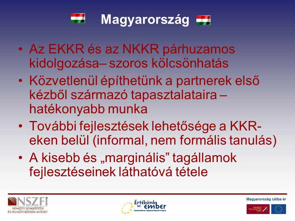 Magyarország Az EKKR és az NKKR párhuzamos kidolgozása– szoros kölcsönhatás Közvetlenül építhetünk a partnerek első kézből származó tapasztalataira –