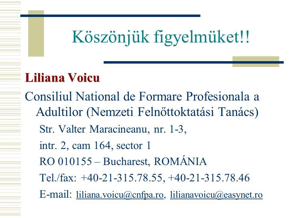 Köszönjük figyelmüket!! Liliana Voicu Consiliul National de Formare Profesionala a Adultilor (Nemzeti Felnőttoktatási Tanács) Str. Valter Maracineanu,