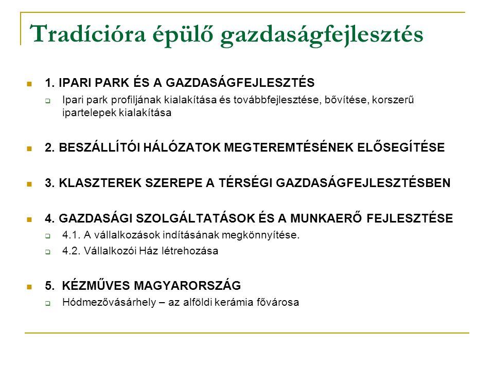 Tradícióra épülő gazdaságfejlesztés 1. IPARI PARK ÉS A GAZDASÁGFEJLESZTÉS  Ipari park profiljának kialakítása és továbbfejlesztése, bővítése, korszer