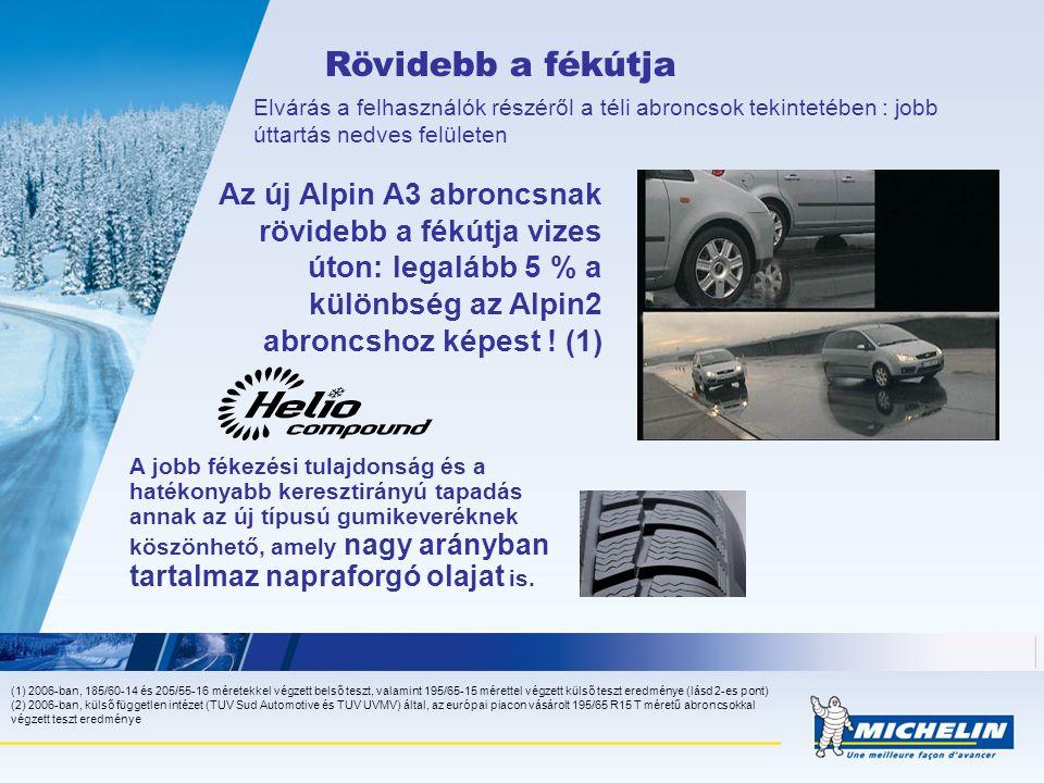 Rövidebb a fékútja Elvárás a felhasználók részéről a téli abroncsok tekintetében : jobb úttartás nedves felületen Az új Alpin A3 abroncsnak rövidebb a fékútja vizes úton: legalább 5 % a különbség az Alpin2 abroncshoz képest .