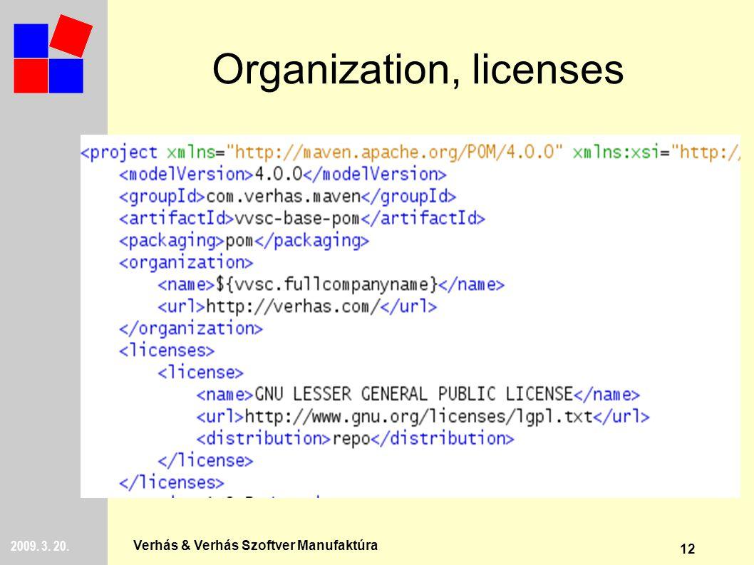 12 2009. 3. 20. Verhás & Verhás Szoftver Manufaktúra Organization, licenses