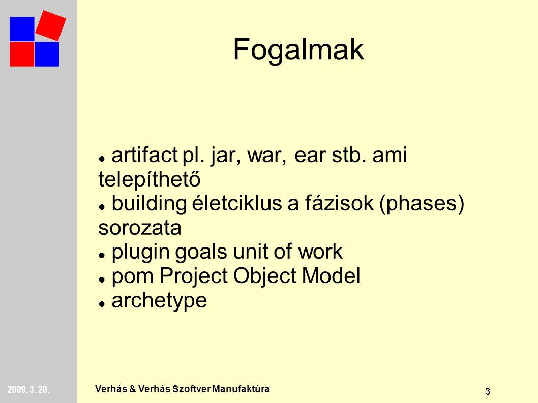 3 2009. 3. 20. Verhás & Verhás Szoftver Manufaktúra Fogalmak artifact pl.
