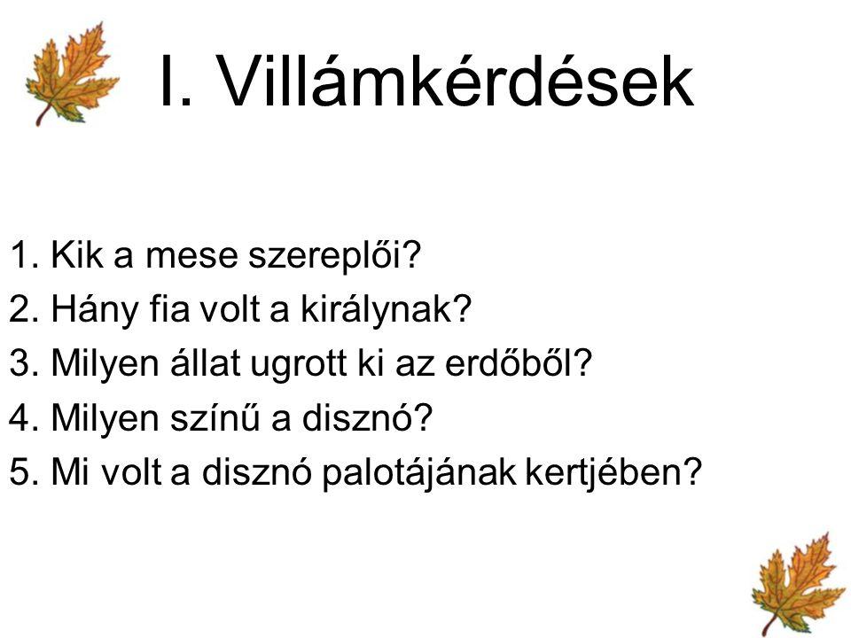 I. Villámkérdések 1. Kik a mese szereplői. 2. Hány fia volt a királynak.