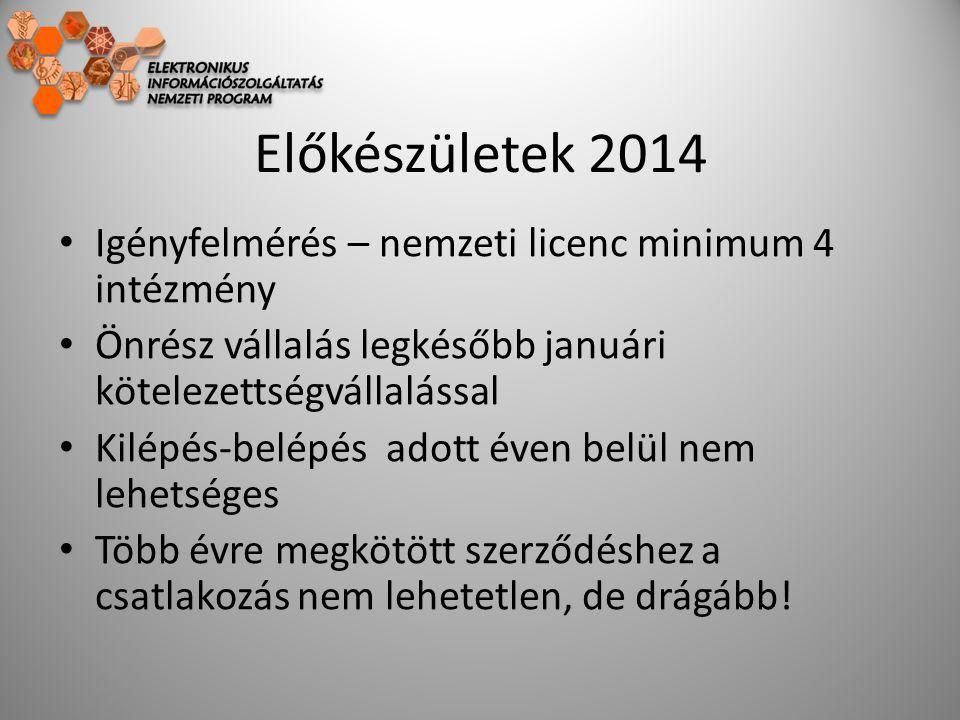Előkészületek 2014 Igényfelmérés – nemzeti licenc minimum 4 intézmény Önrész vállalás legkésőbb januári kötelezettségvállalással Kilépés-belépés adott