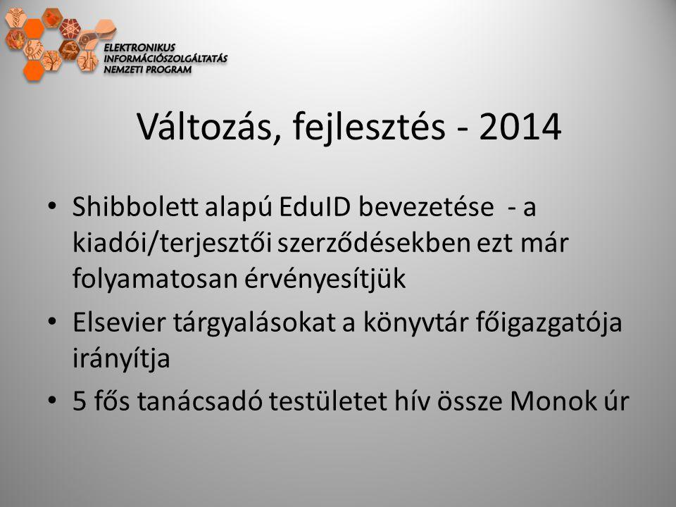 Változás, fejlesztés - 2014 Shibbolett alapú EduID bevezetése - a kiadói/terjesztői szerződésekben ezt már folyamatosan érvényesítjük Elsevier tárgyalásokat a könyvtár főigazgatója irányítja 5 fős tanácsadó testületet hív össze Monok úr