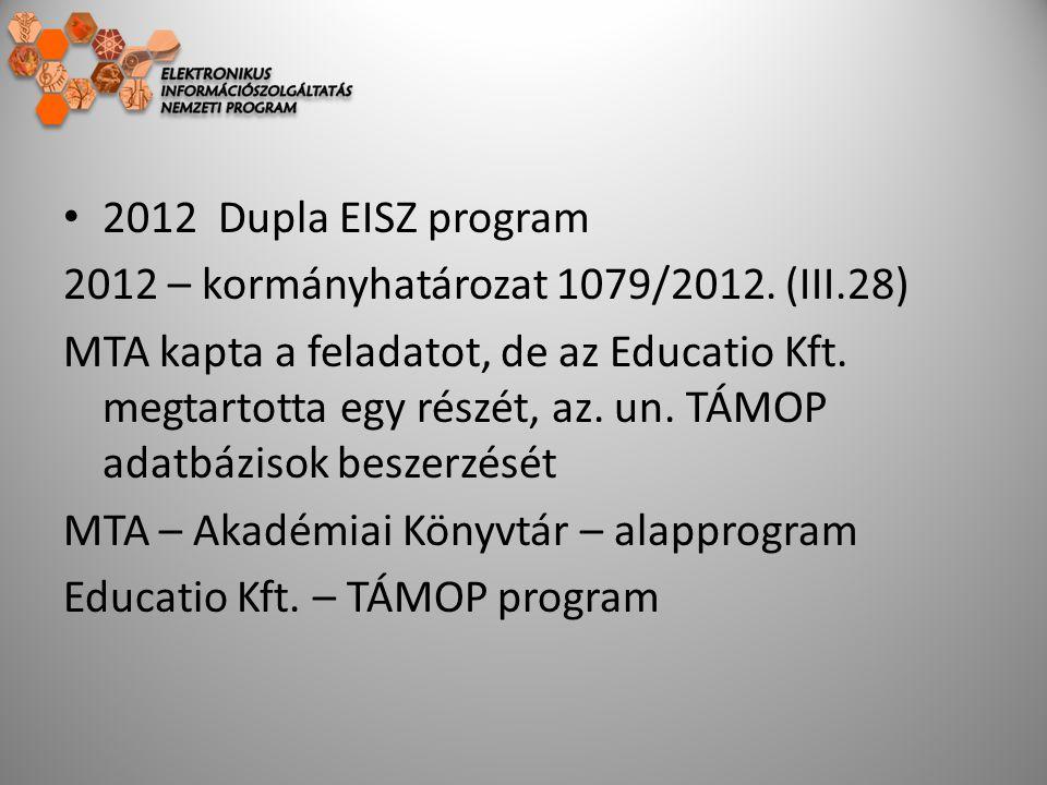 2012 Dupla EISZ program 2012 – kormányhatározat 1079/2012. (III.28) MTA kapta a feladatot, de az Educatio Kft. megtartotta egy részét, az. un. TÁMOP a