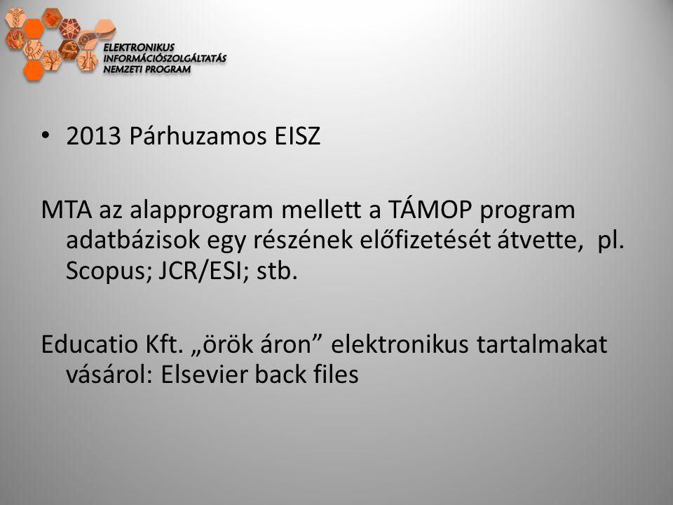 2013 Párhuzamos EISZ MTA az alapprogram mellett a TÁMOP program adatbázisok egy részének előfizetését átvette, pl. Scopus; JCR/ESI; stb. Educatio Kft.