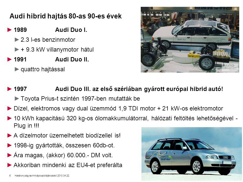 7Hatékonyság technikája sajtótájékoztató 2010.04.22. Audi hatékonysági technikák napjainkban