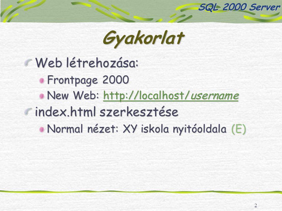 13 Gyakorlat Készítsünk egy oldalt a diákadatbázisban történő keresésekre, ahol a felhasználó rákereshet a diákok vezeték- és/vagy keresztnevére, sportjaira Hozzuk létre a kereses.html oldalt, tegyünk rá egy form-ot, 3 db szövegdobozt (TBVeznev, TBKernev, TBSport), az adatok továbbitása a kereses.asp oldalra történjen SQL 2000 Server