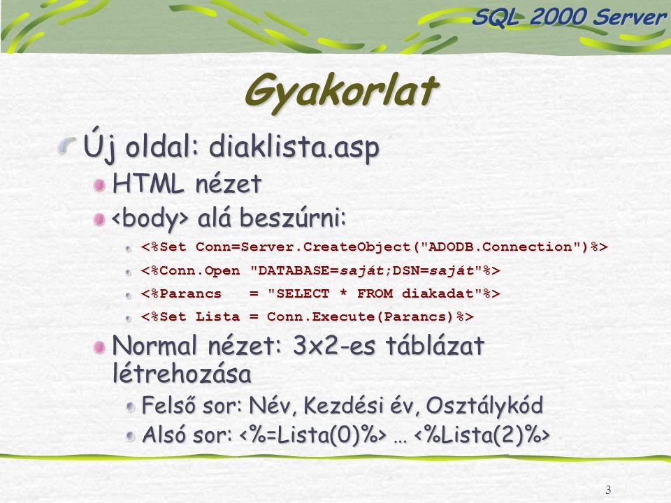 3 Gyakorlat Új oldal: diaklista.asp HTML nézet alá beszúrni: alá beszúrni: Normal nézet: 3x2-es táblázat létrehozása Felső sor: Név, Kezdési év, Osztálykód Alsó sor: … Alsó sor: … SQL 2000 Server
