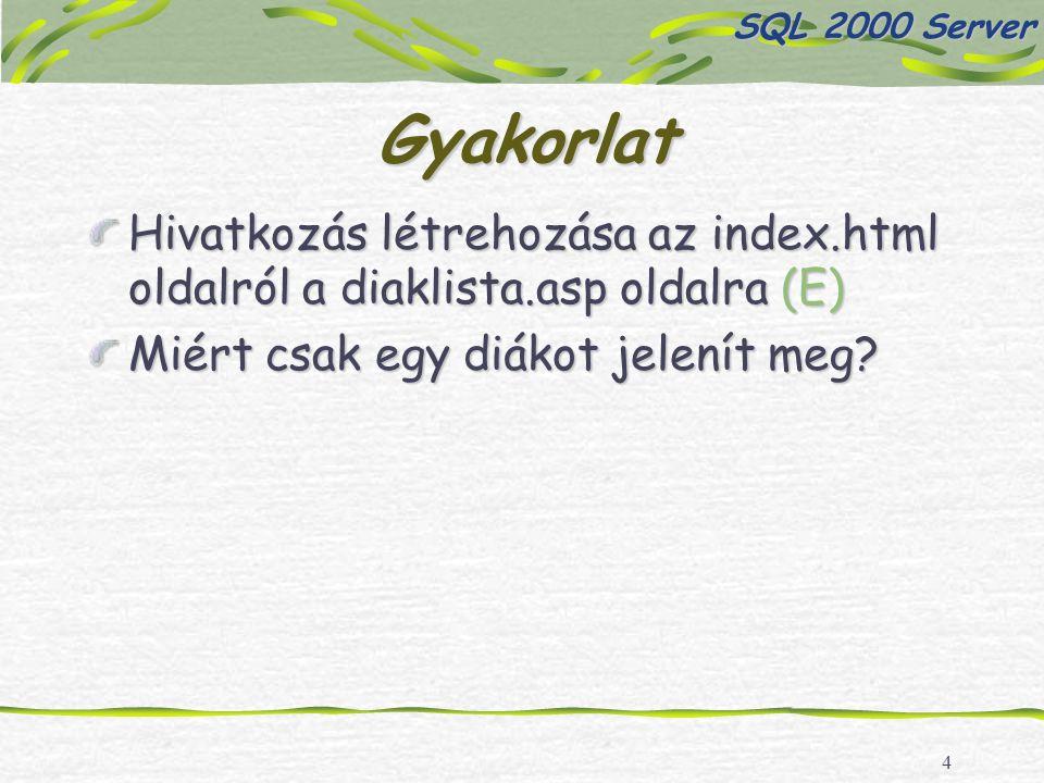 4 Gyakorlat Hivatkozás létrehozása az index.html oldalról a diaklista.asp oldalra (E) Miért csak egy diákot jelenít meg? SQL 2000 Server