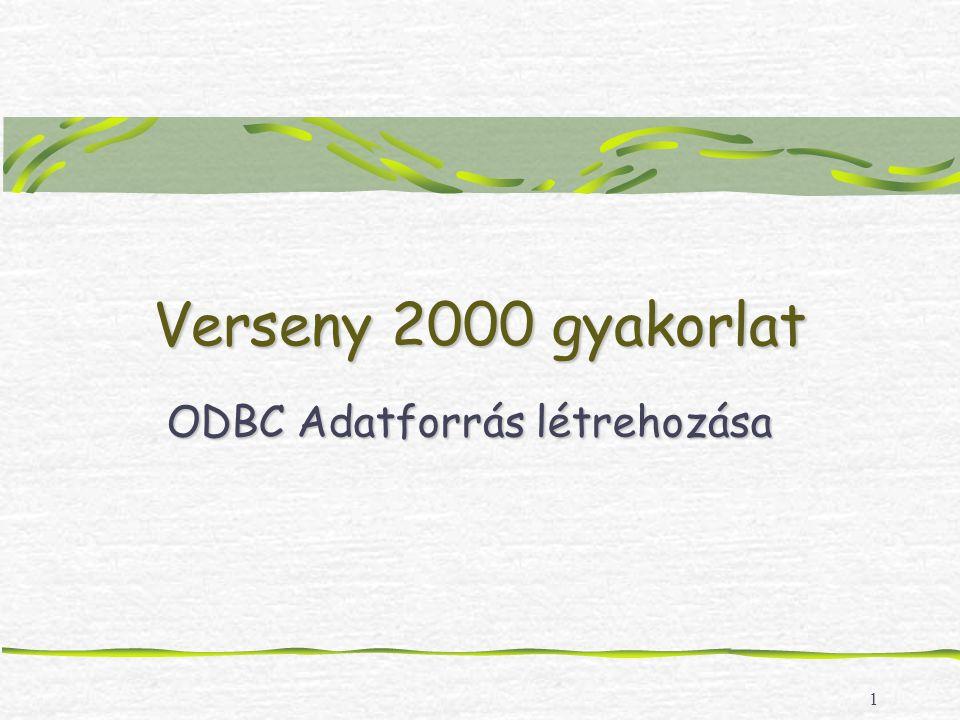 1 Verseny 2000 gyakorlat ODBC Adatforrás létrehozása