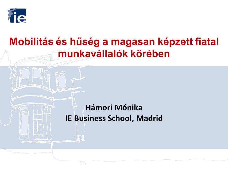 Mobilitás és hűség a magasan képzett fiatal munkavállalók körében Hámori Mónika IE Business School, Madrid
