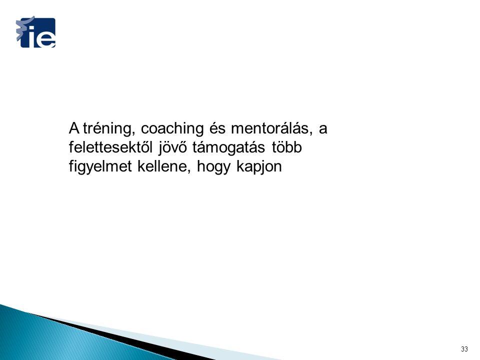 A tréning, coaching és mentorálás, a felettesektől jövő támogatás több figyelmet kellene, hogy kapjon 33