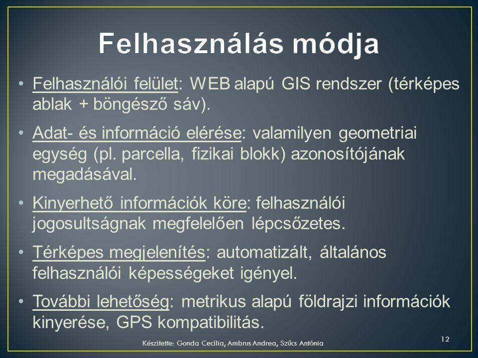 Felhasználói felület: WEB alapú GIS rendszer (térképes ablak + böngésző sáv). Adat- és információ elérése: valamilyen geometriai egység (pl. parcella,