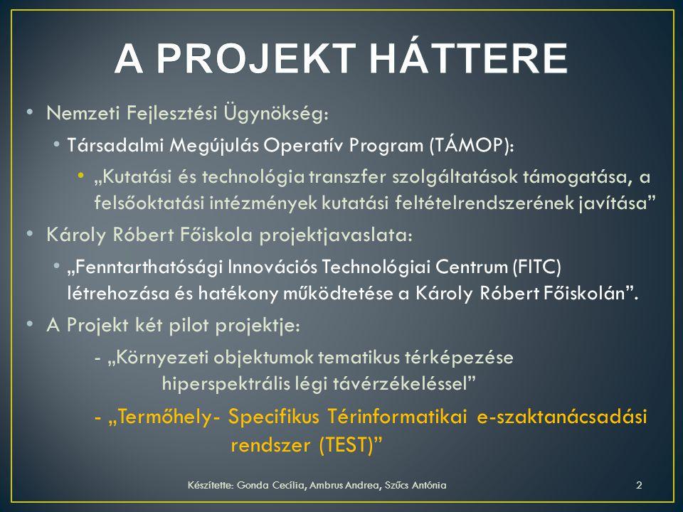 Cél: térinformatikai alapokon működő szaktanácsadási rendszer kialakítása.