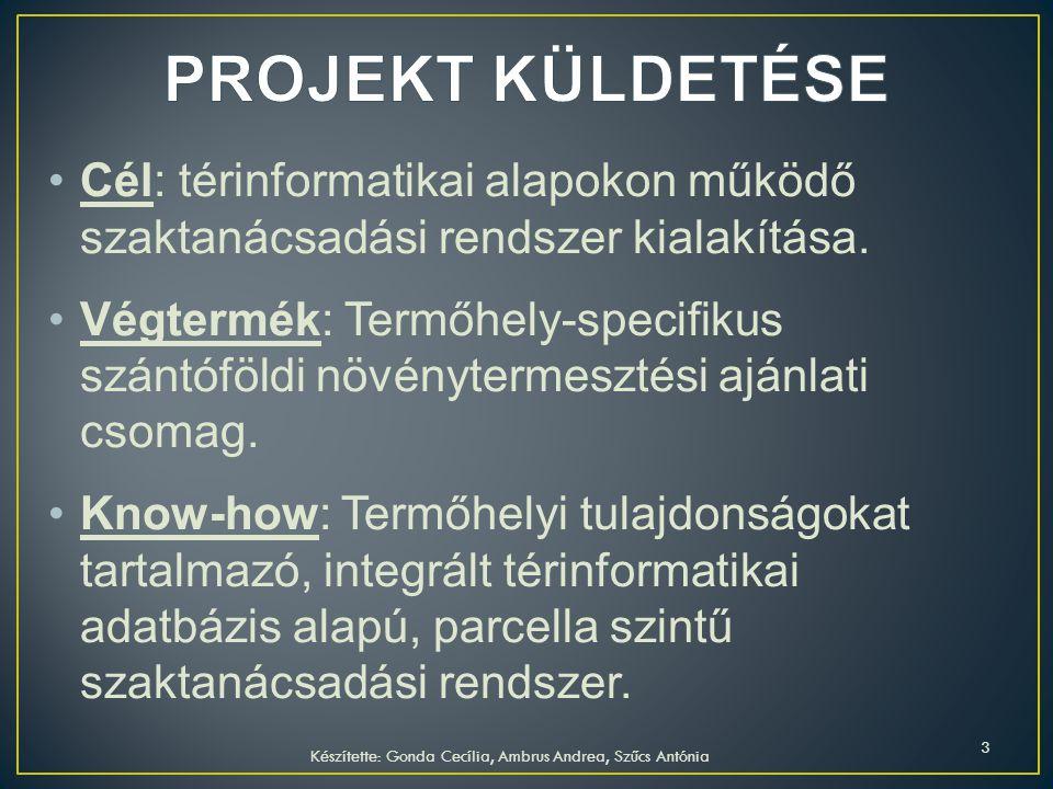 Cél: térinformatikai alapokon működő szaktanácsadási rendszer kialakítása. Végtermék: Termőhely-specifikus szántóföldi növénytermesztési ajánlati csom