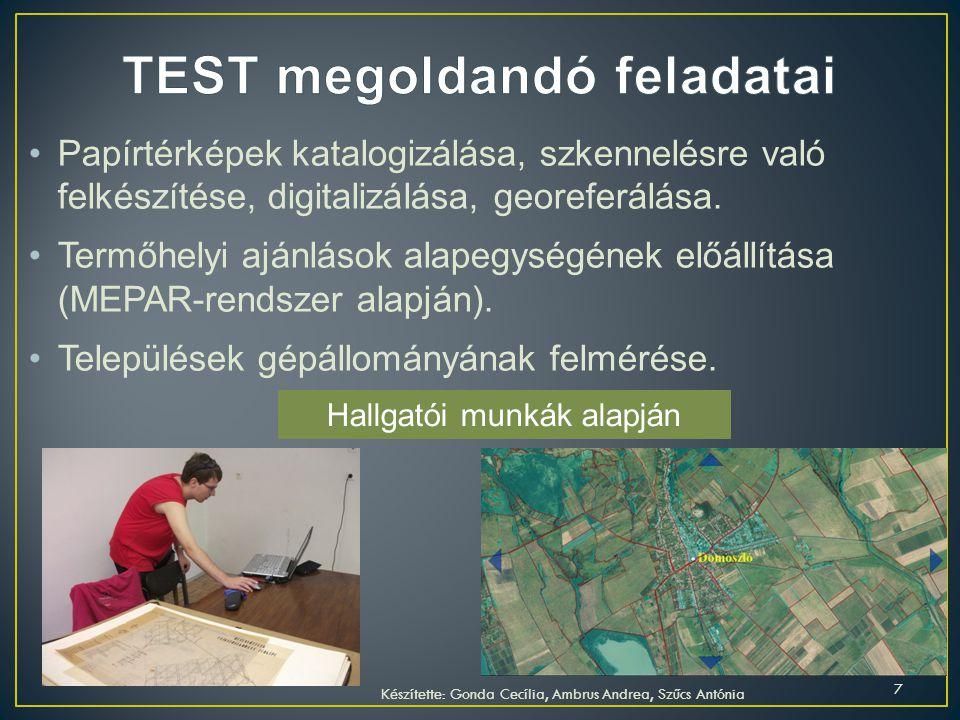 Digitális térinformatikai adatbázisok előállítása (vektorizálás, terepi mérések, távérzékelt adatok előállítása, feldolgozása).