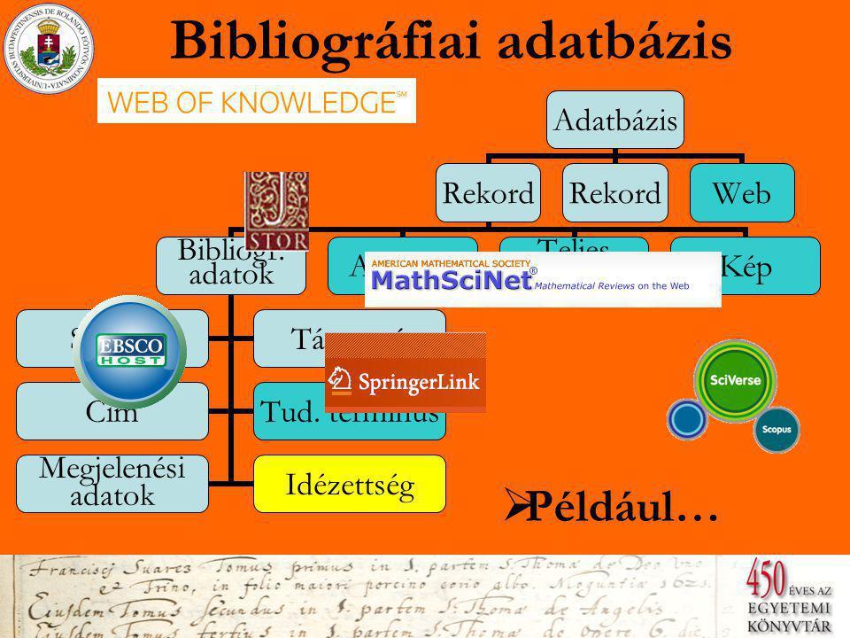 Bibliográfiai adatbázis  Például… Adatbázis Rekord Bibliogr.