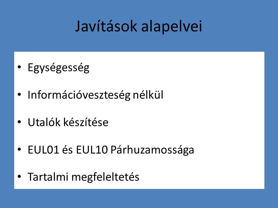 Javítások alapelvei Egységesség Információveszteség nélkül Utalók készítése EUL01 és EUL10 Párhuzamossága Tartalmi megfeleltetés