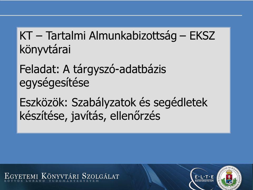 KT – Tartalmi Almunkabizottság – EKSZ könyvtárai Feladat: A tárgyszó-adatbázis egységesítése Eszközök: Szabályzatok és segédletek készítése, javítás, ellenőrzés Szervezet, feladat, eszközök