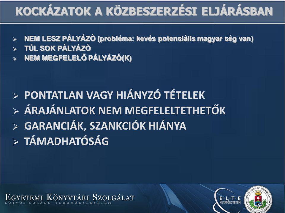  NEM LESZ PÁLYÁZÓ (probléma: kevés potenciális magyar cég van)  TÚL SOK PÁLYÁZÓ  NEM MEGFELELŐ PÁLYÁZÓ(K) KOCKÁZATOK A KÖZBESZERZÉSI ELJÁRÁSBAN  PONTATLAN VAGY HIÁNYZÓ TÉTELEK  ÁRAJÁNLATOK NEM MEGFELELTETHETŐK  GARANCIÁK, SZANKCIÓK HIÁNYA  TÁMADHATÓSÁG