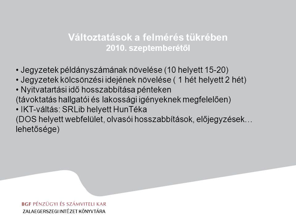 Változtatások a felmérés tükrében 2010. szeptemberétől Jegyzetek példányszámának növelése (10 helyett 15-20) Jegyzetek kölcsönzési idejének növelése (