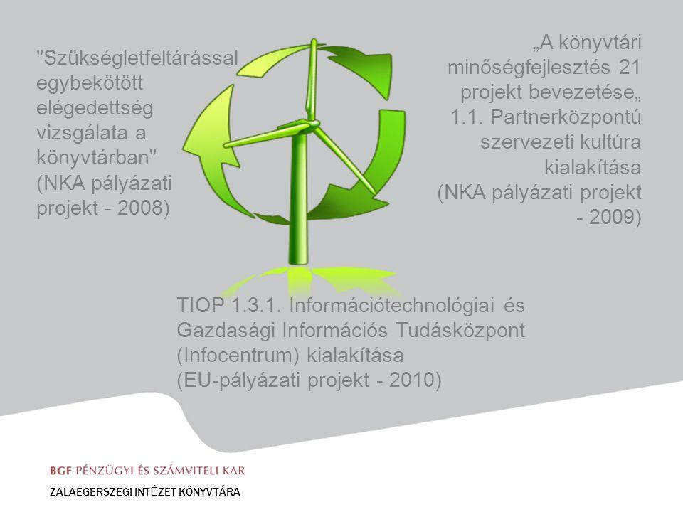"""Szükségletfeltárással egybekötött elégedettség vizsgálata a könyvtárban (NKA pályázati projekt - 2008) ZALAEGERSZEGI INT É ZET KÖNYVTÁRA """"A könyvtári minőségfejlesztés 21 projekt bevezetése"""" 1.1."""