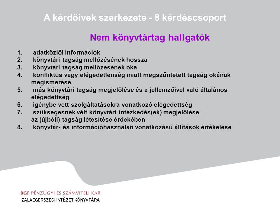 1. adatközlői információk 2. könyvtári tagság mellőzésének hossza 3. könyvtári tagság mellőzésének oka 4. konfliktus vagy elégedetlenség miatt megszűn