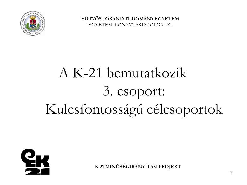 1 A K-21 bemutatkozik 3. csoport: Kulcsfontosságú célcsoportok EÖTVÖS LORÁND TUDOMÁNYEGYETEM EGYETEMI KÖNYVTÁRI SZOLGÁLAT K-21 MINŐSÉGIRÁNYÍTÁSI PROJE