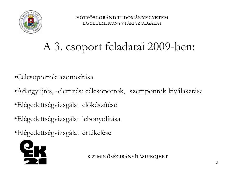 3 EÖTVÖS LORÁND TUDOMÁNYEGYETEM EGYETEMI KÖNYVTÁRI SZOLGÁLAT K-21 MINŐSÉGIRÁNYÍTÁSI PROJEKT A 3. csoport feladatai 2009-ben: Célcsoportok azonosítása