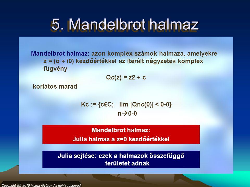 5. Mandelbrot halmaz Copyright (c) 2010 Varga György All rights reserved Mandelbrot halmaz: azon komplex számok halmaza, amelyekre z = (o + i0) kezdőé