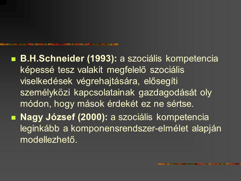 B.H.Schneider (1993): a szociális kompetencia képessé tesz valakit megfelelő szociális viselkedések végrehajtására, elősegíti személyközi kapcsolatain