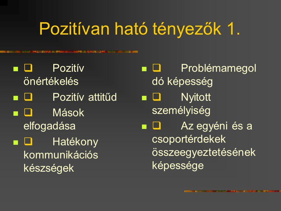 Pozitívan ható tényezők 1.  Pozitív önértékelés  Pozitív attitűd  Mások elfogadása  Hatékony kommunikációs készségek  Problémamegol dó képesség 