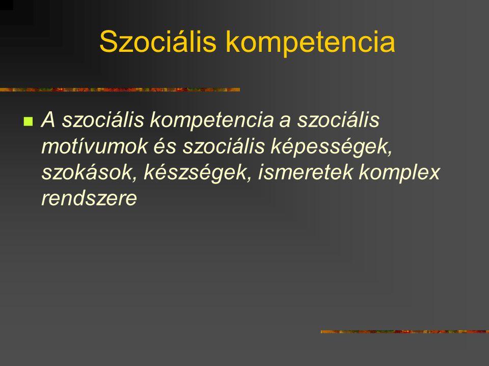 Szociális kompetencia A szociális kompetencia a szociális motívumok és szociális képességek, szokások, készségek, ismeretek komplex rendszere