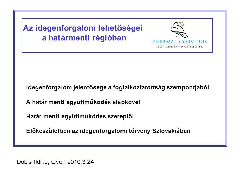 Az idegenforgalom lehetőségei a határmenti régióban Idegenforgalom jelentősége a foglalkoztatottság szempontjából A határ menti együttműködés alapkövei Határ menti együttműködés szereplői Előkészületben az idegenforgalomi törvény Szlovákiában Dobis Ildikó, Győr, 2010.3.24