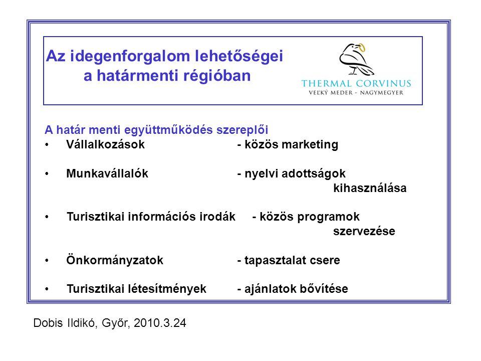 Az idegenforgalom lehetőségei a határmenti régióban A határ menti együttműködés szereplői Vállalkozások - közös marketing Munkavállalók- nyelvi adottságok kihasználása Turisztikai információs irodák - közös programok szervezése Önkormányzatok- tapasztalat csere Turisztikai létesítmények- ajánlatok bővítése Dobis Ildikó, Győr, 2010.3.24