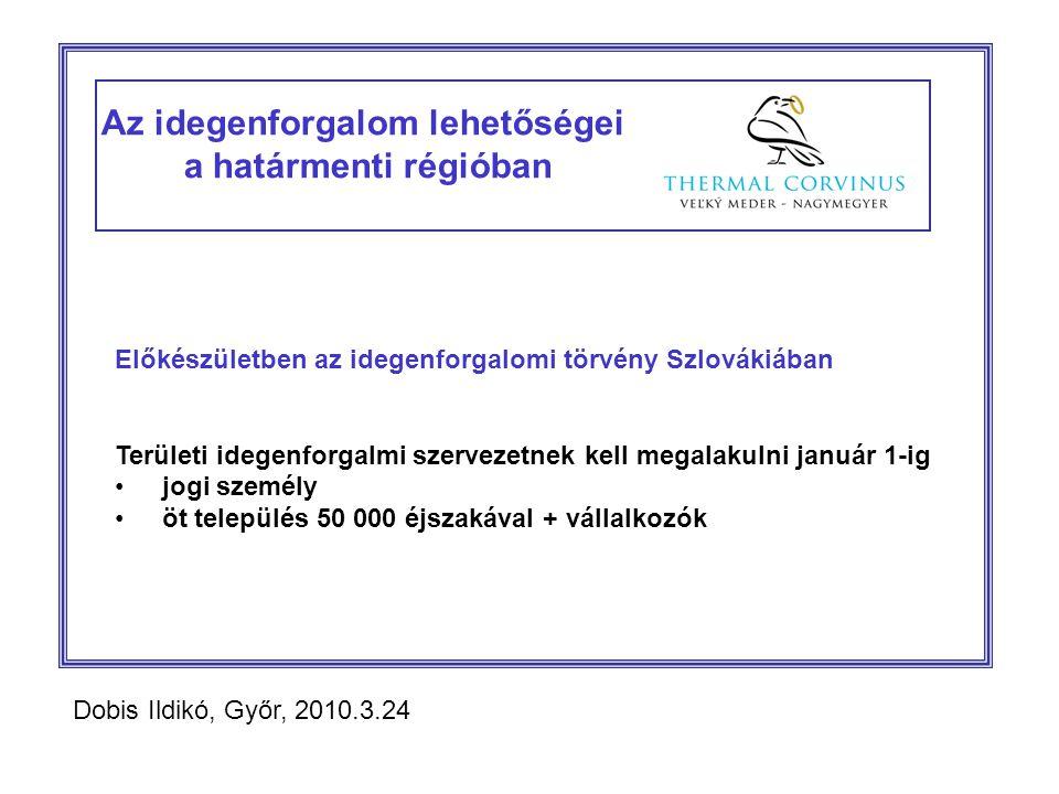 Az idegenforgalom lehetőségei a határmenti régióban Előkészületben az idegenforgalomi törvény Szlovákiában Területi idegenforgalmi szervezetnek kell megalakulni január 1-ig jogi személy öt település 50 000 éjszakával + vállalkozók Dobis Ildikó, Győr, 2010.3.24