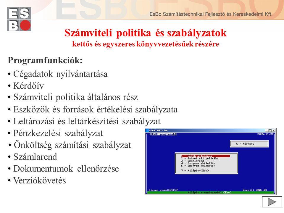 Számviteli politika és szabályzatok összeállításának folyamata 1/12 Dokumentum összeállítás előkészítéséhez nyomtatható kérdőív