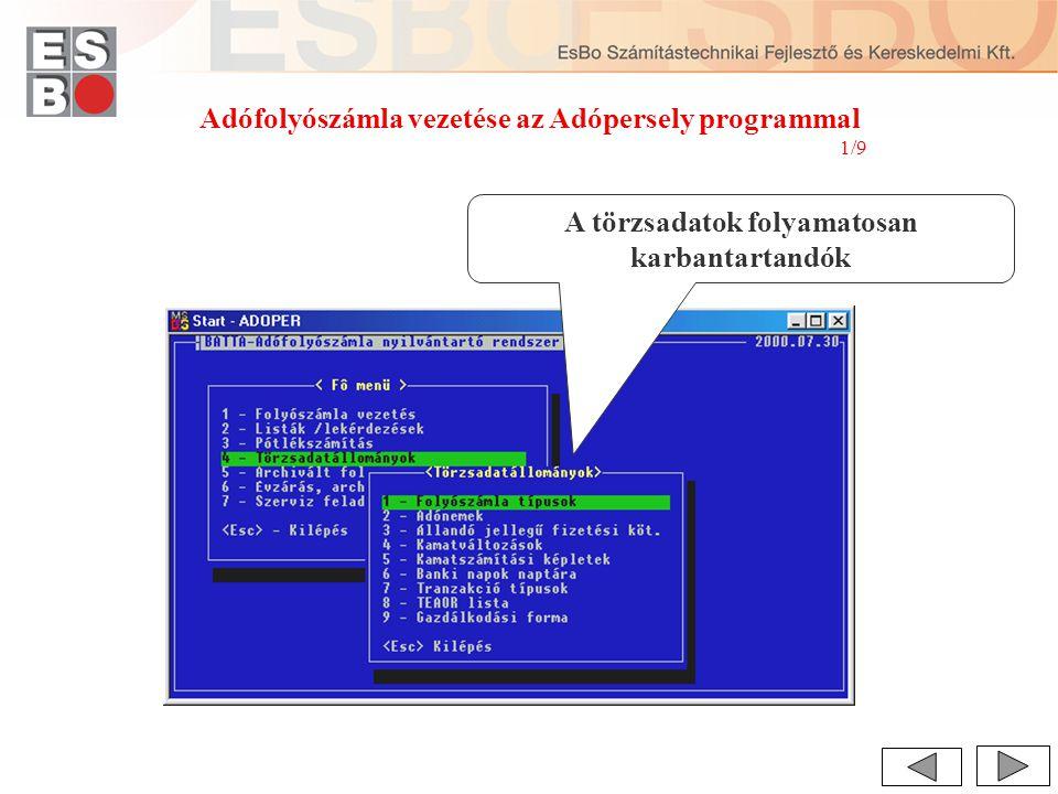 Adófolyószámla vezetése az Adópersely programmal 1/9 A törzsadatok folyamatosan karbantartandók