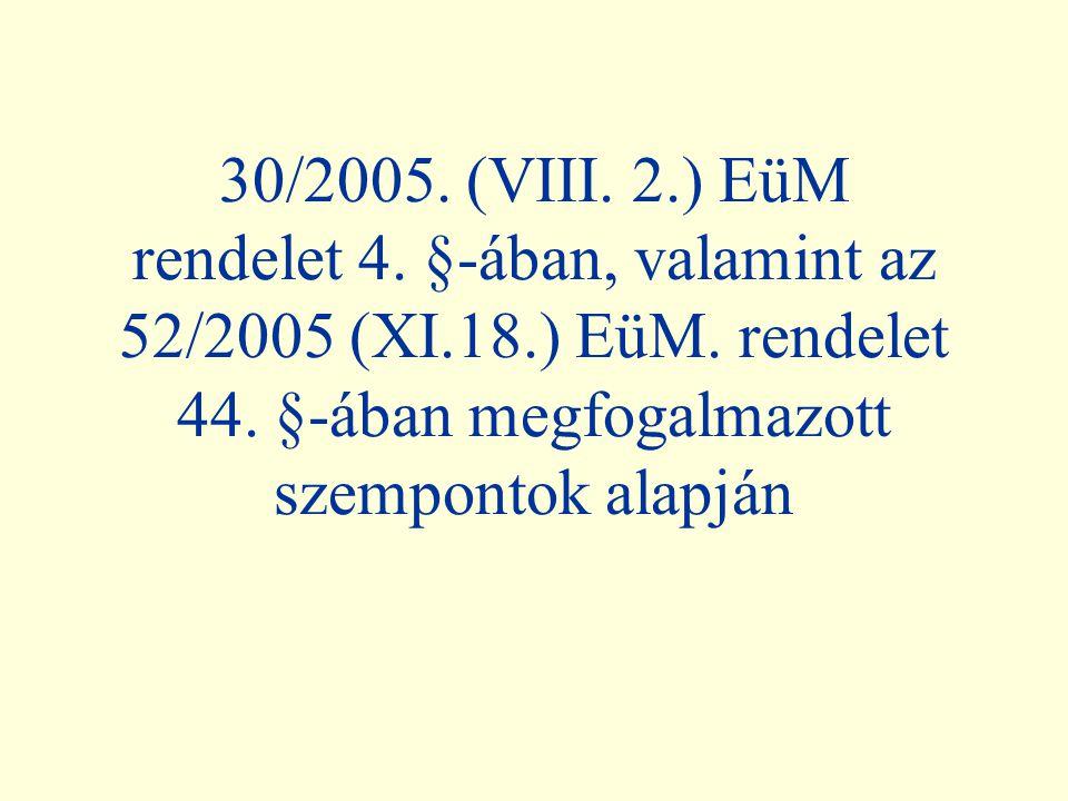 30/2005.(VIII. 2.) EüM rendelet 4. §-ában, valamint az 52/2005 (XI.18.) EüM.