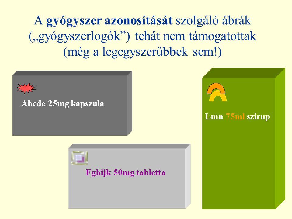 """A gyógyszer azonosítását szolgáló ábrák (""""gyógyszerlogók ) tehát nem támogatottak (még a legegyszerűbbek sem!) Abcde 25mg kapszula Fghijk 50mg tabletta Lmn 75ml szirup"""