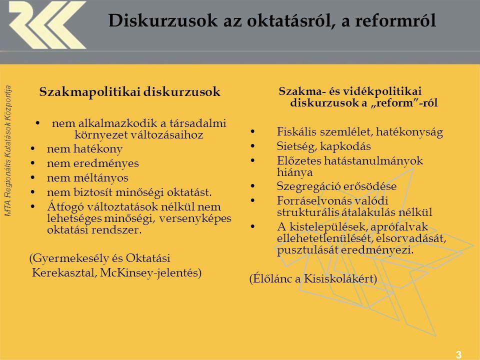 """MTA Regionális Kutatások Központja 4 A """"reform fontosabb lépései 2004-2006: Vonakodó átalakulás A többcélú kistérségi társulások létrejöttének ösztönzése (2004) Enyhítések, könnyítések (2005) Térségi, helyi szinten: tárgyalás- és alkusorozatok, kivárás 2007: a szerkezetátalakítás felgyorsítása költségvetési törvény: önhiki szabályok szigorodása tanévi és teljesítménymutatóhoz kötött finanszírozás a kistérségi társulások által fenntartott intézmények kiemelt támogatása közoktatási törvény módosítása(i): az általános iskola definiálása- kisiskolák tagintézménnyé válása menekülési utak elvágása"""