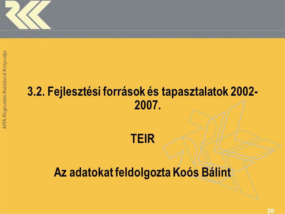 MTA Regionális Kutatások Központja 20 3.2.Fejlesztési források és tapasztalatok 2002- 2007.