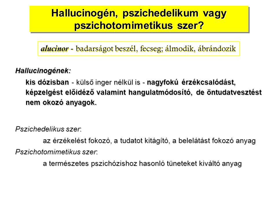Hallucinogén, pszichedelikum vagy pszichotomimetikus szer? Hallucinogének: kis dózisban - külső inger nélkül is - nagyfokú érzékcsalódást, képzelgést