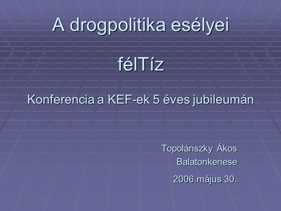 A drogpolitika esélyei félTíz Konferencia a KEF-ek 5 éves jubileumán Topolánszky Ákos Balatonkenese 2006.május 30.
