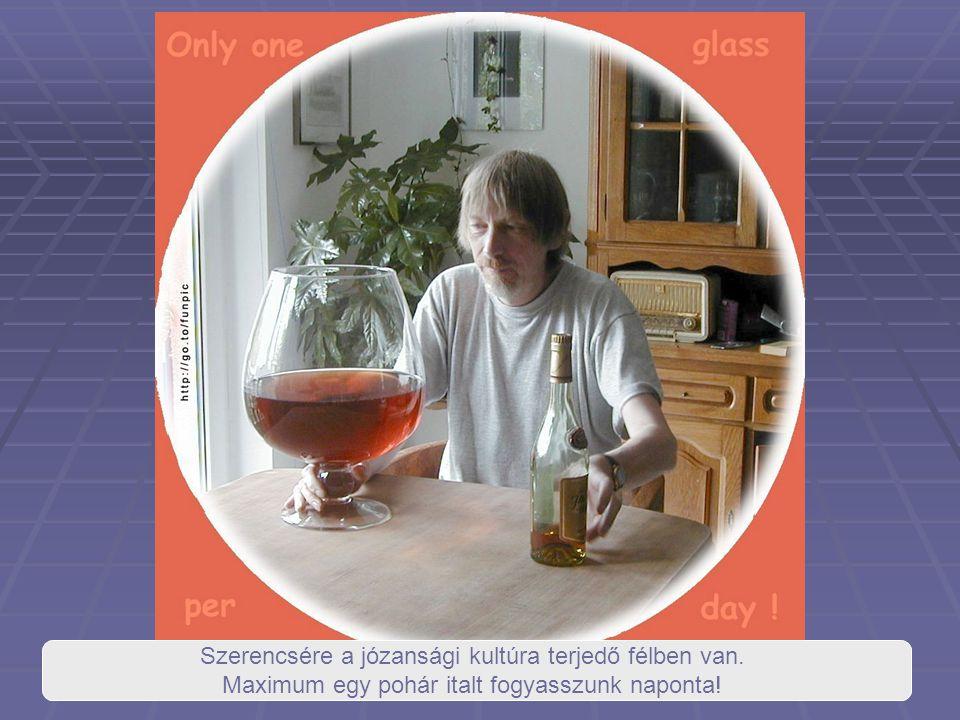 Szerencsére a józansági kultúra terjedő félben van. Maximum egy pohár italt fogyasszunk naponta!