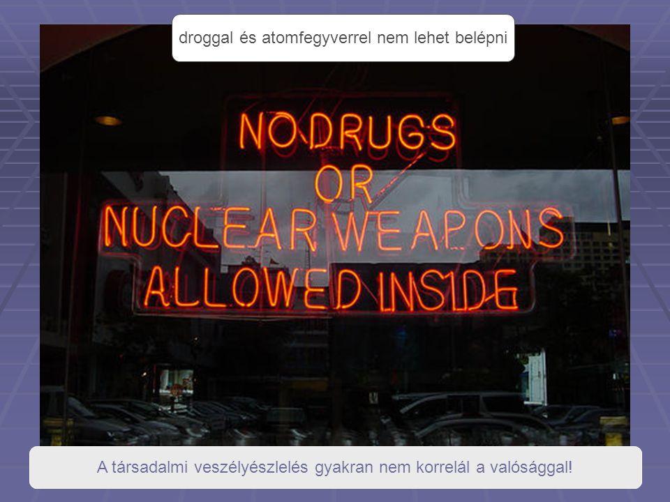 droggal és atomfegyverrel nem lehet belépni A társadalmi veszélyészlelés gyakran nem korrelál a valósággal!