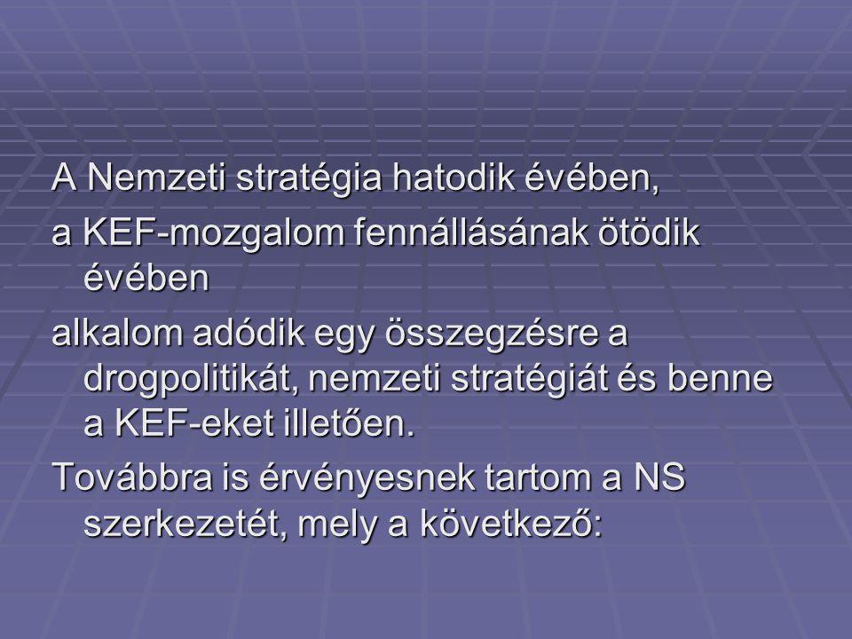 A stratégia szerkezete - kínálatcsökkentés: Együttműködés, közösség PrevencióTerápia,reszocializációKínálatcsökkentés vízió, általános cél helyzetelemzés Nemzeti Drogmegelőzési Intézet National Intstitute for Drug Prevention